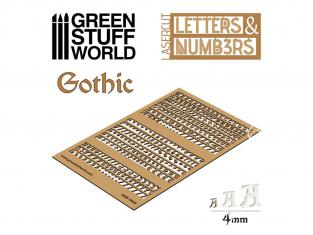 Green Stuff 501291 Lettres et nombres 4 mm GOTHIQUE