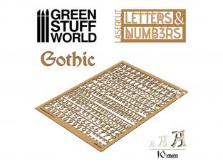 Green Stuff 501314 Lettres et nombres 10 mm GOTHIQUE