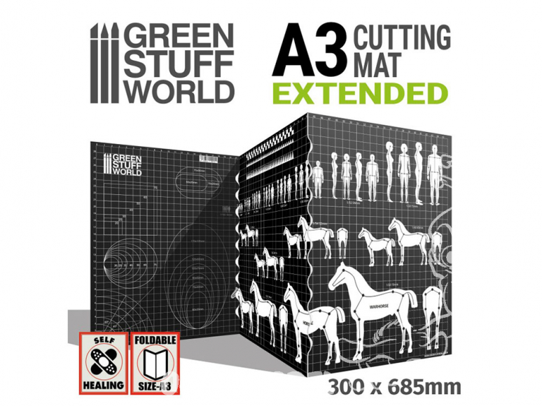 Green Stuff 509151 Tapis de Découpe avec échelles A3 extensible