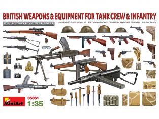 Mini Art maquette militaire 35361 ARMES ET ÉQUIPEMENT BRITANNIQUES POUR ÉQUIPAGE DE CHARS ET L'INFANTERIE WWII 1/35
