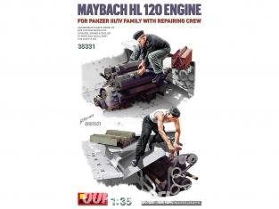Mini Art maquette militaire 35331 MOTEUR MAYBACH HL 120 POUR FAMILLE PANZER III/IV AVEC EQUIPE DE REPARATEUR 1/35