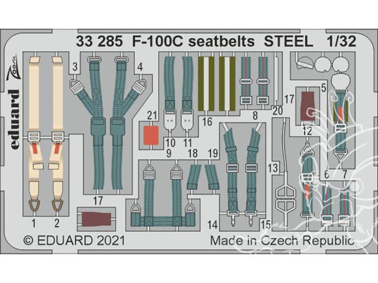Eduard photodécoupe avion 33285 Harnais métal F-100C Trumpeter 1/32