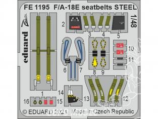EDUARD photodecoupe avion FE1195 Harnais métal F/A-18E Meng 1/48