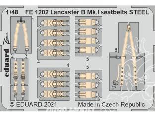 EDUARD photodecoupe avion FE1202 Harnais métal Lancaster B Mk.I Hk Models 1/48