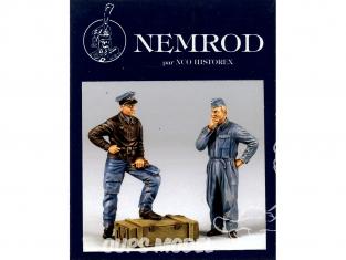Nemrod figurine 32004 PILOTE ET MECANICIEN LUFTWAFFE FRANCE JUIN 1944 1/32