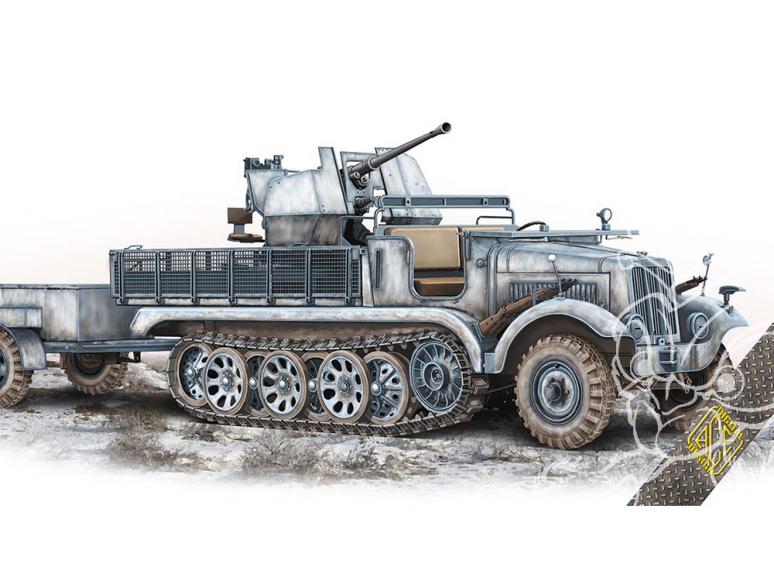 Ace Maquettes Militaire 72573 3,7cm Flak 36 auf Fahrgestell mZgKw 5t Sd.Kfz.6/2 1/72
