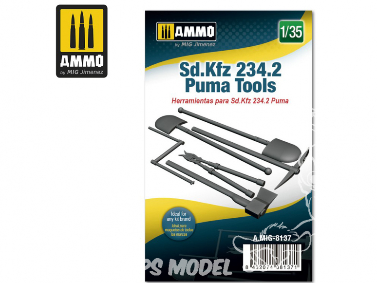Ammo Mig accessoire 8137 Outils Sd.Kfz 234.2 Puma 1/35