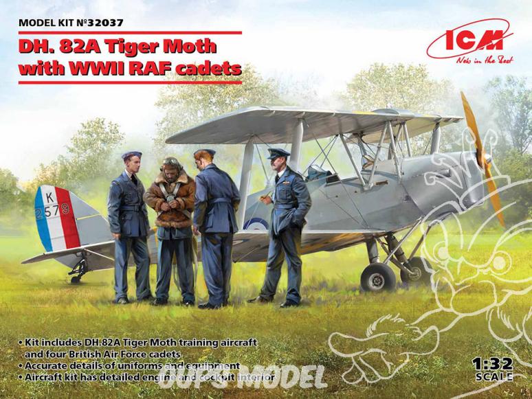Icm maquette avion 32037 DH. 82A Tiger Moth Avion d'entraînement britannique inclus RAF cadets 1/32