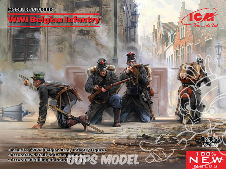 Icm maquette figurines 35680 Infanterie belge de la Première Guerre mondiale 1/35