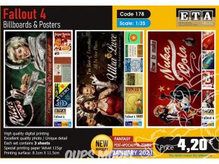 ETA diorama 178 panneau d'affichage et posters Fallout 4 1/35
