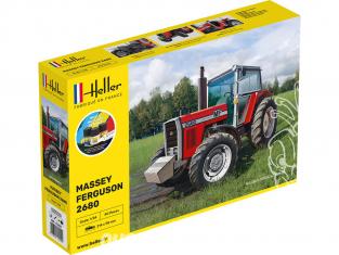 Heller maquette tracteur 57402 STARTER KIT Massey Ferguson 2680 inclus peintures principale colle et pinceau 1/24