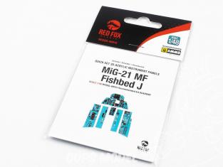 Red Fox Studio Tableaux de bord 3D avion RFQS-48015 MiG-21 MF Fishbed J Academy 1/48