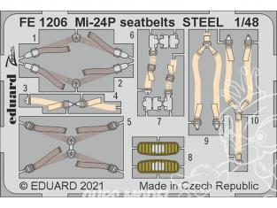 EDUARD photodecoupe hélicoptère FE1206 Harnais métal Mi-24P Zvezda 1/48