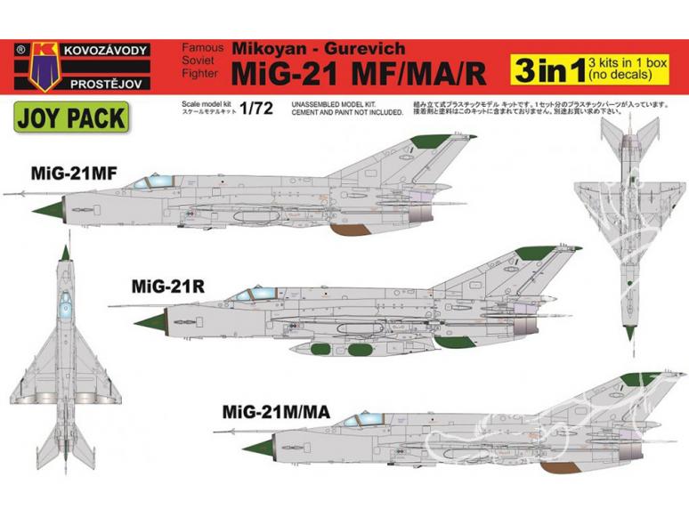 KP Model kit avion Kpm0105 Mikoyan-Gourevitch MiG-21MF/MA/R JOY PACK de 3 sans decalques 1/72