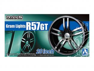 """Aoshima maquette voiture 055151 Jantes Rays Gram Lights R57GT 20"""" et pneus 1/24"""