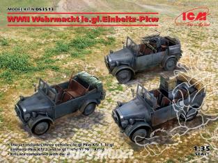 Icm maquette militaire DS3513 WWII Trois Wehrmacht le.gl.Einheitz-Pkw 1/35