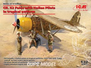 Icm maquette avion 32025 CR. 42 Falco avec des pilotes italiens en uniforme tropical 1/32