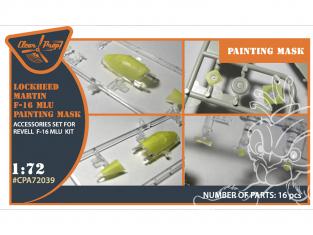 """Clear Prop kit d'amelioration avion CPA72039 Masque de peinture F-16 MLU kit Revell en """"papier kabuki jaune"""" 1/72"""