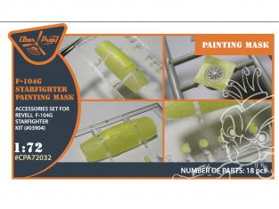 """Clear Prop kit d'amelioration avion CPA72032 Masque de peinture F-104G kit Revell en """"papier kabuki jaune"""" 1/72"""