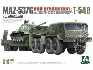 Takom maquette militaire 5013 MAZ-537G mid production w/ CHMZAP-5247G Semi remorque & T-54B 1/72