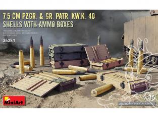 Mini Art maquette militaire 35381 7,5 CM PZGR. & GR. PATR. KW.K. 40 Douilles AVEC BOÎTES DE MUNITIONS WWII 1/35