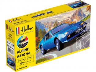 HELLER maquette voiture 56146 STARTER KIT Alpine A310 inclus peintures principale colle et pinceau 1/43