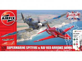 Airfix maquette avion A50187 Le meilleur du Spitfire et Hawk britanniques inclus colle, les peintures acryliques et pinceau 1/72