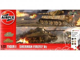 Airfix maquette militaire A50186 Tigre 1 contre Sherman Firefly inclus colle, les peintures acryliques et pinceaux 1/72