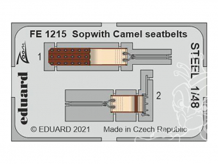 EDUARD photodecoupe avion FE1215 Harnais métal Sopwith Camel Eduard 1/48