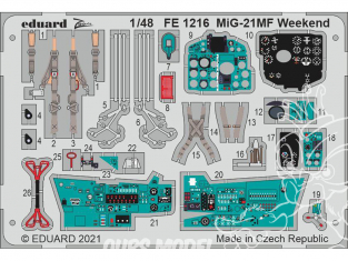 EDUARD photodecoupe avion FE1216 Zoom amélioration MiG-21MF WeekEnd Eduard 1/48