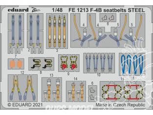 EDUARD photodecoupe avion FE1213 Harnais métal F-4B Phantom Tamiya 1/48