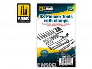 Ammo Mig accessoire 8146 Outils pionniers US avec clamps 1/35