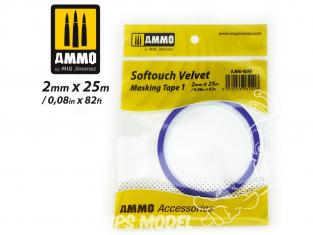 Mig accessoires 8240 Ruban de masquage Softouch velvet Tape 1 - 2mm x 25m Bande cache velours