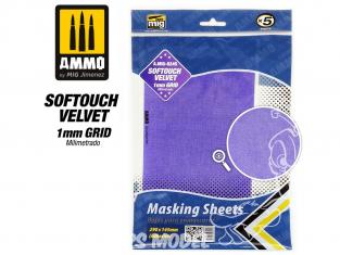 Mig accessoires 8245 Feuille de masquage milimétré grilles 1mm Softouch Velvet 290 x 145mm x5 Feuilles caches velours