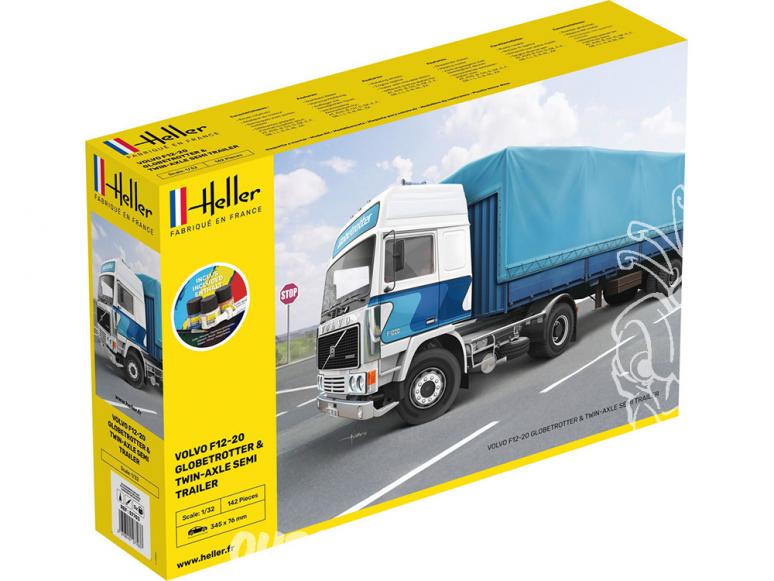 Heller maquette camion 57703 F12-20 Globetrotter et Remorque inclus peintures principale colle et pinceau 1/32