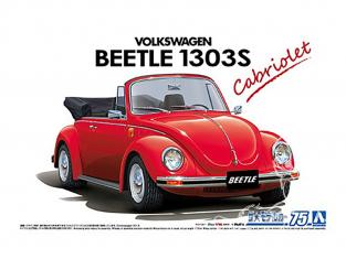 Aoshima maquette voiture 61541 Volkswagen Beetle 1303S Cabriolet 1975 15ADK 1/24