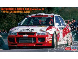 "Hasegawa maquette voiture 20510 Mitsubishi Lancer GSR Evolution III ""Rallye de Catalogne 1996 1/24"