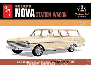 "AMT maquette voiture 1202 1963 Chevy II Nova Station Wagon ""Craftsman Plus Series"" 1/25"