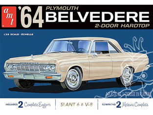 AMT maquette voiture 1188 1964 PLYMOUTH BELVEDERE (W-SLANT 6 ENGINE ET V8) 1/25
