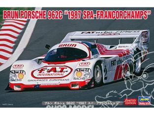 Hasegawa maquette voiture 20503 Brun Porsche 962C « 1987 Spa Francorchamps » 1/24