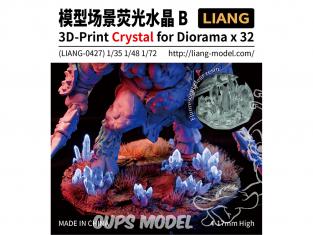Liang Model 0427 Accessoires Crystal 3D pour diorama Set B x32 Hauteur 4 - 17mm 1/35 1/48 1/72