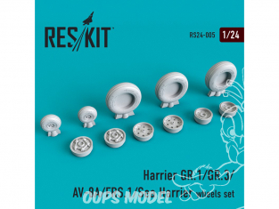 ResKit kit d'amelioration avion RS24-0005 Ensemble de roues Harrier GR.1/GR.3/AV-8A/FRS.1/Sea 1/24