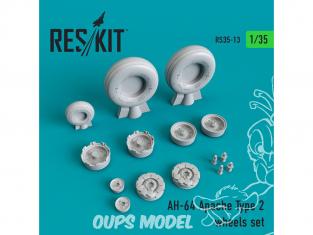 ResKit kit d'amelioration Helico RS35-0013 Ensemble de roues AH-64 Apache Type 2 1/35