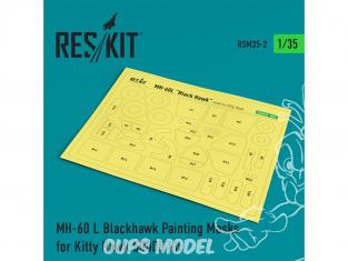 ResKit kit d'amelioration Helico RSM35-0002 MH-60L Blackhawk Peinture Masques pour Kitty Hawk 50005 1/35