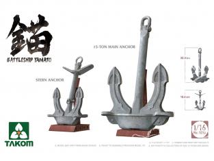 Takom maquette bateau 1013 Ancres Yamato - Ancre principale 15 Ton + Ancre de poupe 1/16