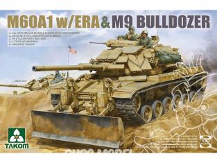 Takom maquette militaire 2142 M60A1 w/ERA & M9 Bulldozer 1/35