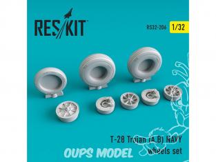 ResKit kit d'amelioration avion RS32-0206 Ensemble de roues pour T-28 Trojan (A,B) NAVY 1/32