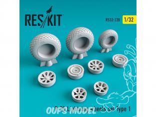 ResKit kit d'amelioration avion RS32-0220 Ensemble de roues pour P-38 Lightning Type 1 1/32