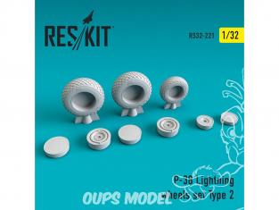 ResKit kit d'amelioration avion RS32-0221 Ensemble de roues pour P-38 Lightning Type 2 1/32