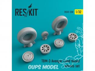 ResKit kit d'amelioration avion RS32-0230 Ensemble de roues pour TBM-3 Avenger Land based 1/32